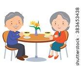 senior couple dating. vector... | Shutterstock .eps vector #383653438