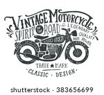 vintage motorcycle. hand drawn... | Shutterstock .eps vector #383656699