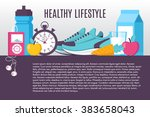 illustration sport fitness... | Shutterstock .eps vector #383658043