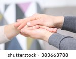 man and woman holding hands... | Shutterstock . vector #383663788