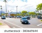 cars parked near a supermarket... | Shutterstock . vector #383669644