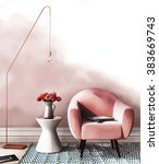 sketch of interior in pink and... | Shutterstock . vector #383669743