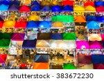 bird eyes view of talad rod fai ...   Shutterstock . vector #383672230