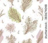 seamless pastel colors herbs... | Shutterstock .eps vector #383674048
