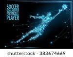 thin line soccer player in... | Shutterstock .eps vector #383674669