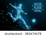 low poly soccer player hits the ... | Shutterstock .eps vector #383674678