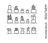 cactus in the pots outline...   Shutterstock .eps vector #383676859