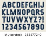 angular alphabet and number... | Shutterstock .eps vector #383677240