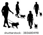 Stock vector a man walking with a dog on a leash silhouette on a white background 383680498