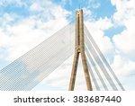 top of suspension bridge  riga  ... | Shutterstock . vector #383687440
