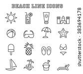 beach line icons  mono vector... | Shutterstock .eps vector #383694178
