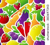 seamless pattern with fruits... | Shutterstock . vector #383697343