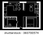 sketch plan studio on black... | Shutterstock .eps vector #383700574