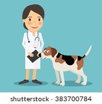 female veterinarian doctor with ... | Shutterstock .eps vector #383700784
