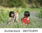 the child with a dog | Shutterstock . vector #383701894