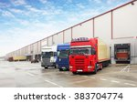 truck in unloading in warehouse | Shutterstock . vector #383704774