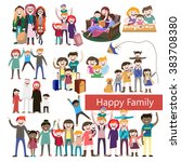 set of happy family  people ... | Shutterstock .eps vector #383708380