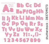 pink polka dot font for girls. | Shutterstock .eps vector #383709073