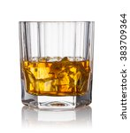 glass of scotch whiskey and ice ... | Shutterstock . vector #383709364