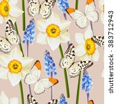 daffodil and muscari vector... | Shutterstock .eps vector #383712943
