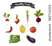 set of vegetables. fresh... | Shutterstock . vector #383716324