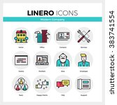 line icons set of business... | Shutterstock .eps vector #383741554