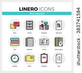 line icons set of office... | Shutterstock .eps vector #383741584