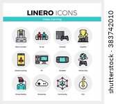 line icons set of video gaming...