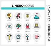 line icons set of business... | Shutterstock .eps vector #383742424