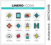line icons set of network... | Shutterstock .eps vector #383742448