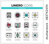 line icons set of 3d printing ... | Shutterstock .eps vector #383742454