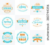 set of spring vintage... | Shutterstock .eps vector #383744356