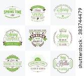 set of spring vintage... | Shutterstock .eps vector #383744479