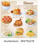 set of food icons. dinner.... | Shutterstock .eps vector #383756278