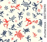 wild beach. seamless pattern | Shutterstock .eps vector #383758390