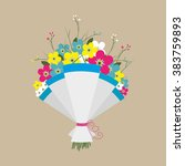 cute bouquet of flowers.... | Shutterstock .eps vector #383759893