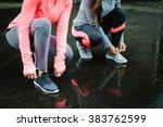urban athletes lacing sport... | Shutterstock . vector #383762599