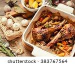 Dinner With Turkey Legs Roaste...