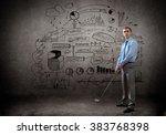 businessman playing golf | Shutterstock . vector #383768398