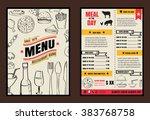 brochure or poster restaurant ... | Shutterstock .eps vector #383768758