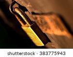 rusty old padlock on shed door... | Shutterstock . vector #383775943