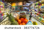 easter shopping grocery cart at ...   Shutterstock . vector #383776726