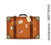 travel suitcase on white... | Shutterstock .eps vector #383778343