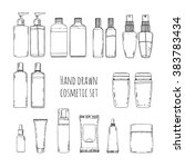 set of hand drawn of cosmetics... | Shutterstock .eps vector #383783434