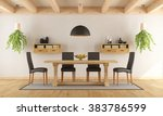 white dining room with rustic... | Shutterstock . vector #383786599
