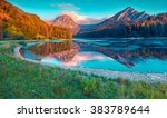 colorful summer sunrise on the...   Shutterstock . vector #383789644