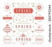spring typographic design set.... | Shutterstock .eps vector #383795344