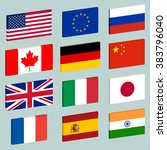vector set of popular flags... | Shutterstock .eps vector #383796040