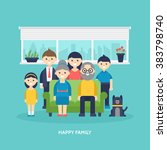 happy family concept. parents ... | Shutterstock .eps vector #383798740