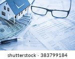 miniature house with money and... | Shutterstock . vector #383799184